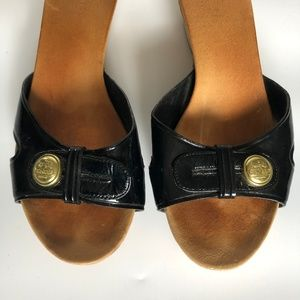 Coach Shoes - Coach Black Patent Leather Clog Slip On Size 6